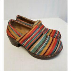 BOC Born Nadiyya Striped Canvas Clogs Mules Size 7